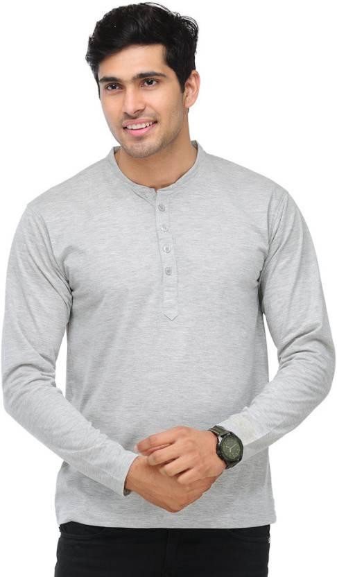 TSX Solid Mens Henley Grey T-Shirt