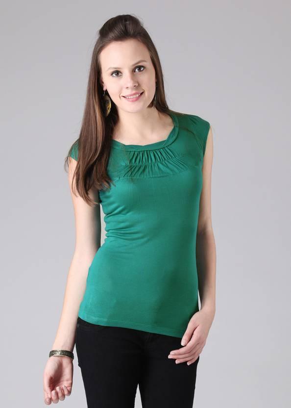 Wrangler Solid Women's Round Neck Green T-Shirt