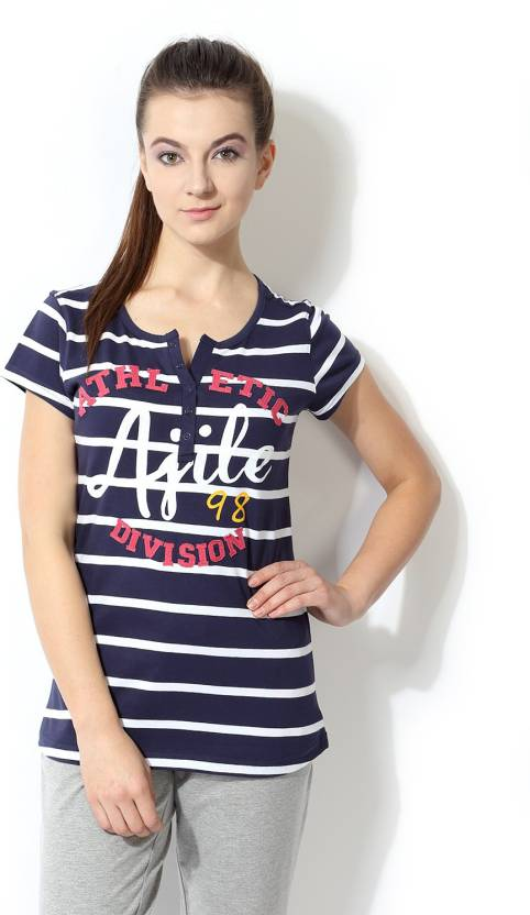 a500fdf83e0 Ajile by Pantaloons Striped Women s Round Neck Dark Blue T-Shirt - Buy Navy  Ajile by Pantaloons Striped Women s Round Neck Dark Blue T-Shirt Online at  Best ...