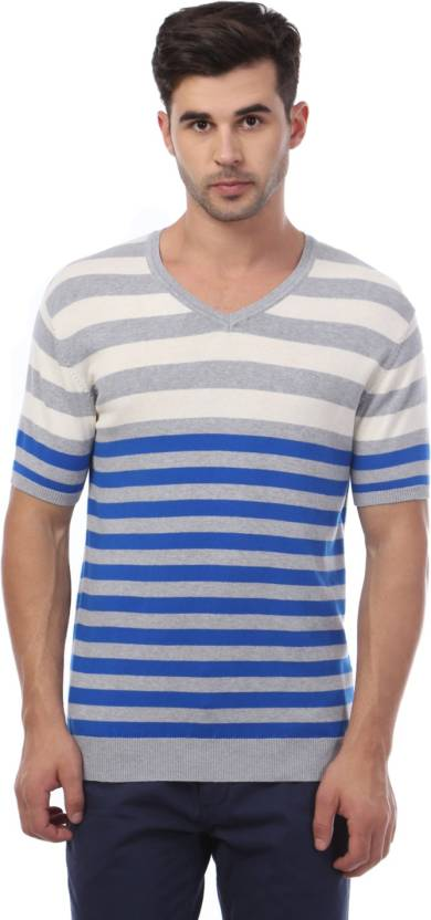 8808468873 Van Heusen Striped Men s V-neck Grey T-Shirt - Buy Grey Van Heusen ...