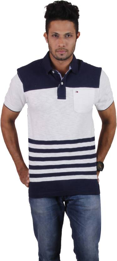 5fb2d375714 Tommy Hilfiger Striped Men s Polo Neck White