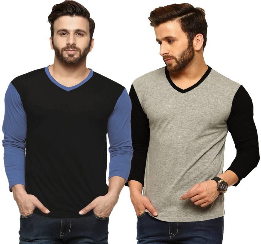 Tripr Solid Mens V-neck Multicolor T-Shirt  (Pack of 2)