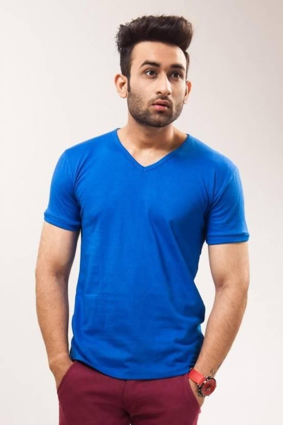 4eae38da6 Unisopent Designs Solid Men's V-neck Blue T-Shirt - Buy Royal Blue  Unisopent Designs Solid Men's V-neck Blue T-Shirt Online at Best Prices in  India ...
