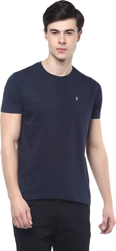 PRZM Solid Mens Round Neck Dark Blue T-Shirt
