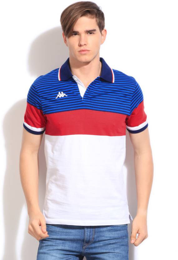 96eef314a0 Kappa Striped Men's Polo Neck Blue, White, Red T-Shirt - Buy WHITE Kappa  Striped Men's Polo Neck Blue, White, Red T-Shirt Online at Best Prices in  India ...