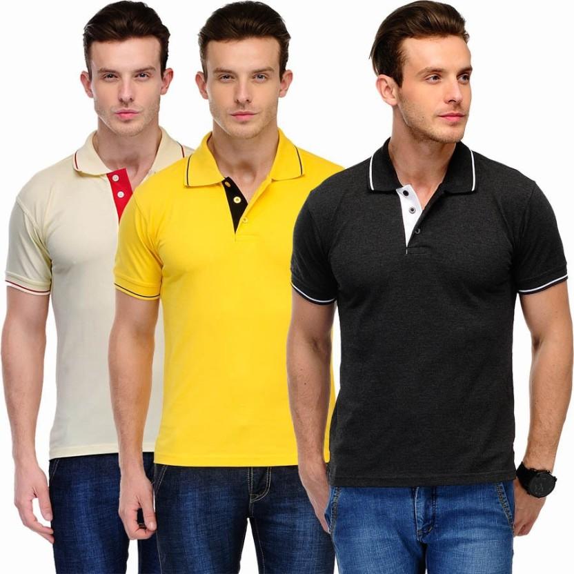 f99485d9ddec ... sale scott international solid mens polo neck black yellow beige t shirt  d3a3c b6675