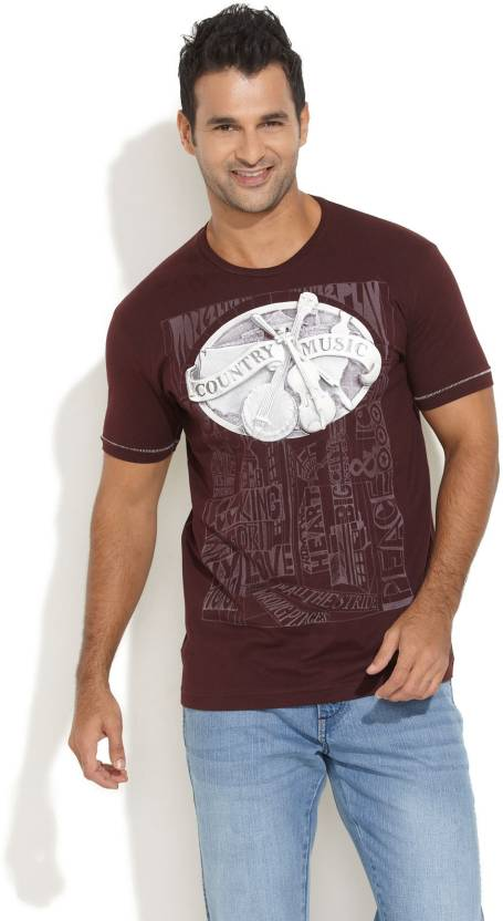 381da9abbed Stride Printed Men s Round Neck Maroon T-Shirt - Buy Dark Red Stride  Printed Men s Round Neck Maroon T-Shirt Online at Best Prices in India