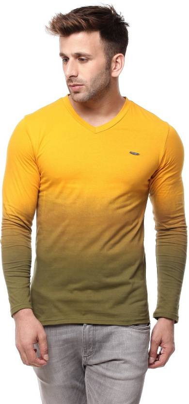 Gritstones Solid Men's V-neck Yellow T-Shirt