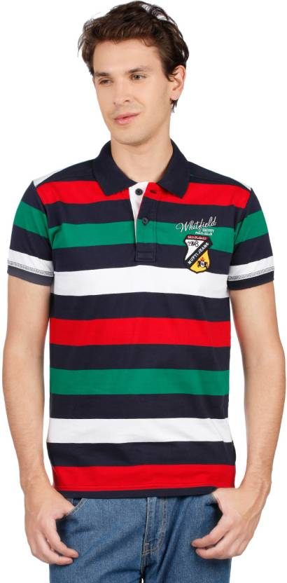 fb9ae9660f2 Mufti Striped Men s Polo Neck Multicolor T-Shirt - Buy Red Mufti Striped  Men s Polo Neck Multicolor T-Shirt Online at Best Prices in India