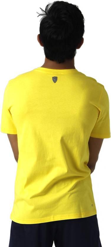 Puma Graphic Print Men's Round Neck Yellow T-Shirt