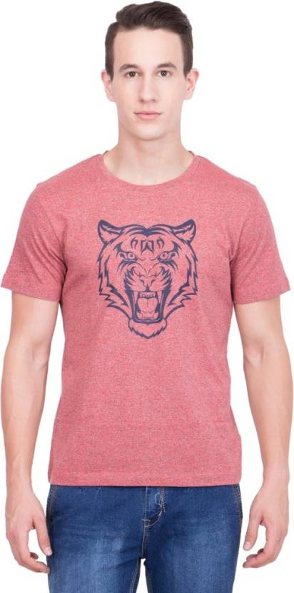 99 Hunts Printed Men's Round Neck Red T-Shirt - Buy Red 99