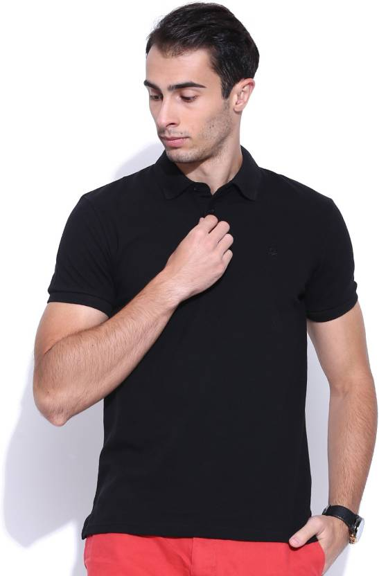 United Colors of Benetton Solid Men's Polo Neck Black T-Shirt