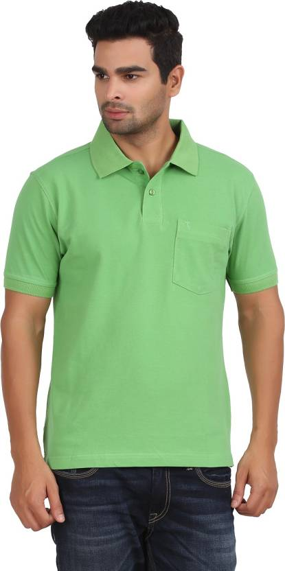ffaa617139 Moonwalker Solid Men's Polo Neck Green T-Shirt