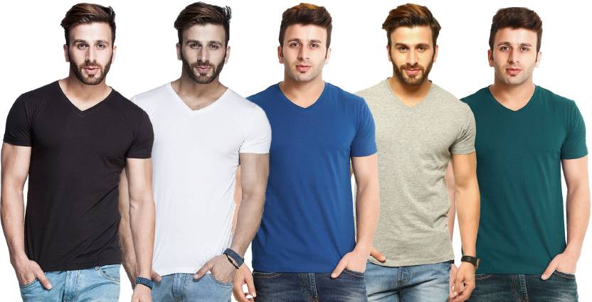 Tripr Solid Men's V-neck Multicolor T-Shirt