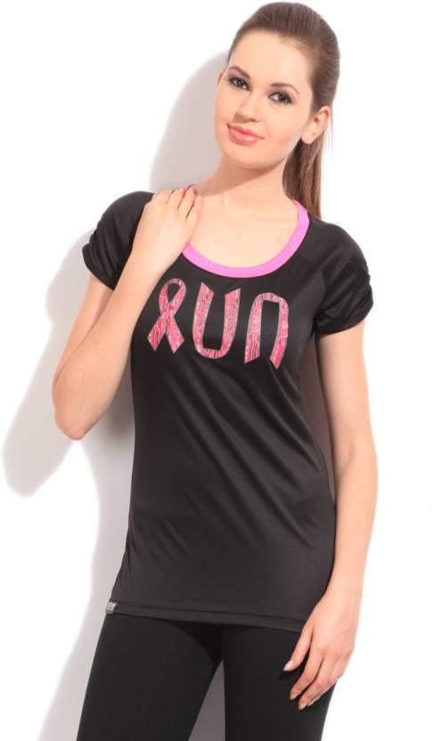 ce97a241 ADIDAS Printed Women's Round Neck Black T-Shirt - Buy BLACK/INTPNK ...