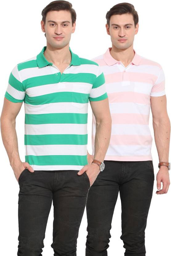 8f82198e Duke Stardust Striped Men's Polo Neck White, Green, Pink T-Shirt (Pack of 2)