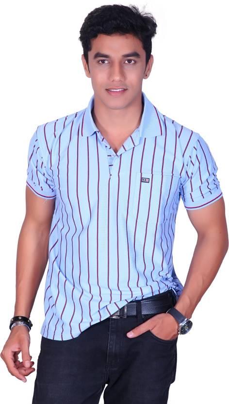 1e6b97203022 Cotton King Striped Men's Polo Neck Light Blue T-Shirt - Buy Light ...