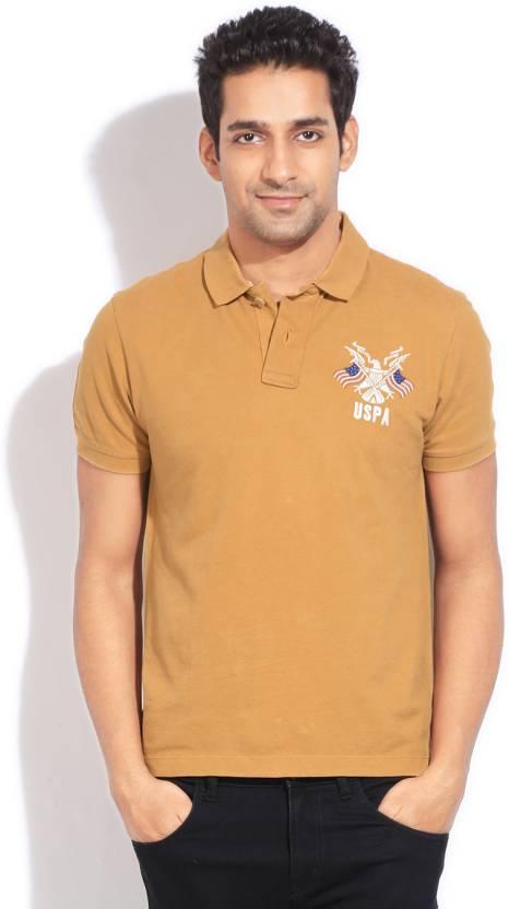 b849a341ff07 U.S. Polo Assn Solid Men s Polo Neck Beige T-Shirt - Buy BISCOTTI U.S. Polo  Assn Solid Men s Polo Neck Beige T-Shirt Online at Best Prices in India ...