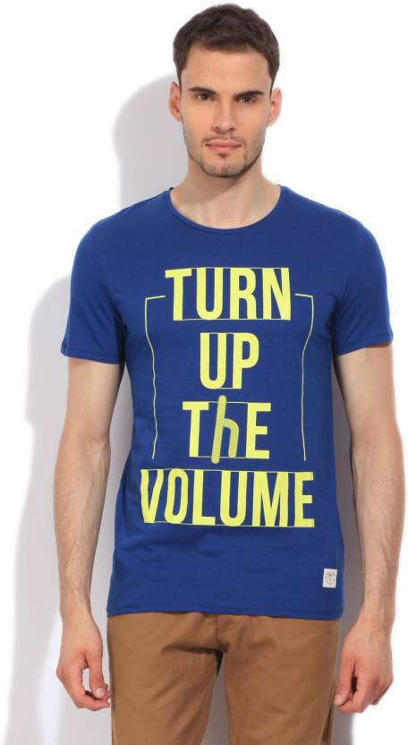 United Colors of Benetton. Printed Mens Round Neck Blue T-Shirt
