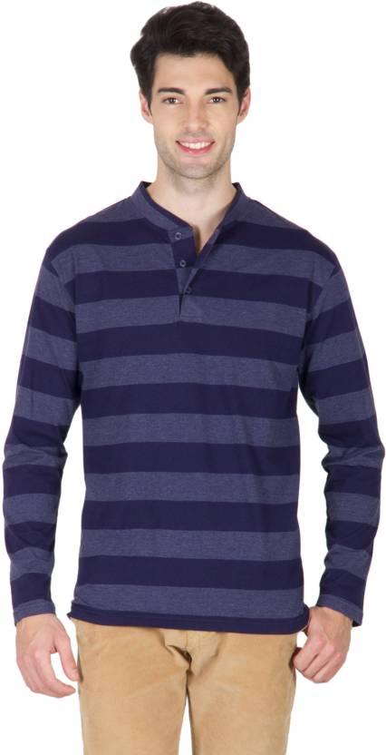 9b8c1b46942 Hypernation Striped Men s Henley Blue T-Shirt - Buy Navy Blue Hypernation  Striped Men s Henley Blue T-Shirt Online at Best Prices in India