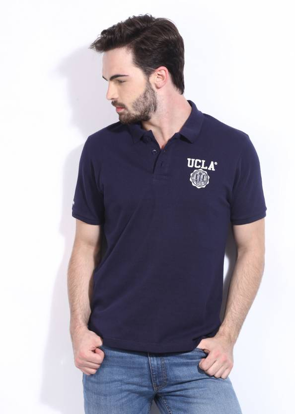 540f42db3 UCLA Solid Men's Polo Neck Blue T-Shirt - Buy NEWNAVY UCLA Solid Men's Polo  Neck Blue T-Shirt Online at Best Prices in India   Flipkart.com