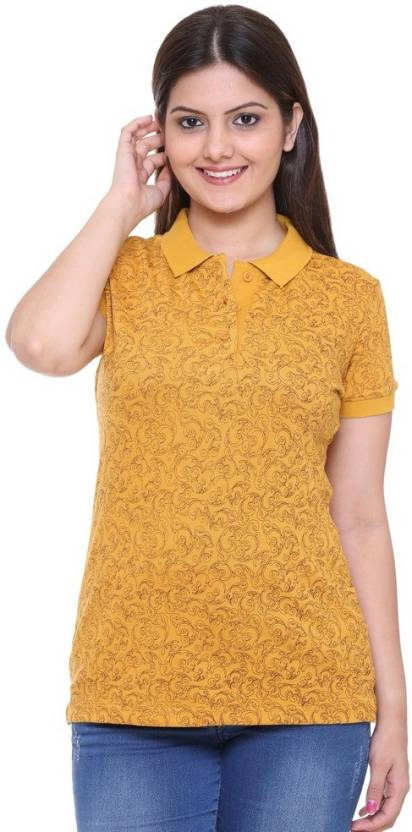 1685d87e6dda Colors & Blends Printed Women's Polo Neck Yellow T-Shirt - Buy Mustard  Colors & Blends Printed Women's Polo Neck Yellow T-Shirt Online at Best  Prices in ...