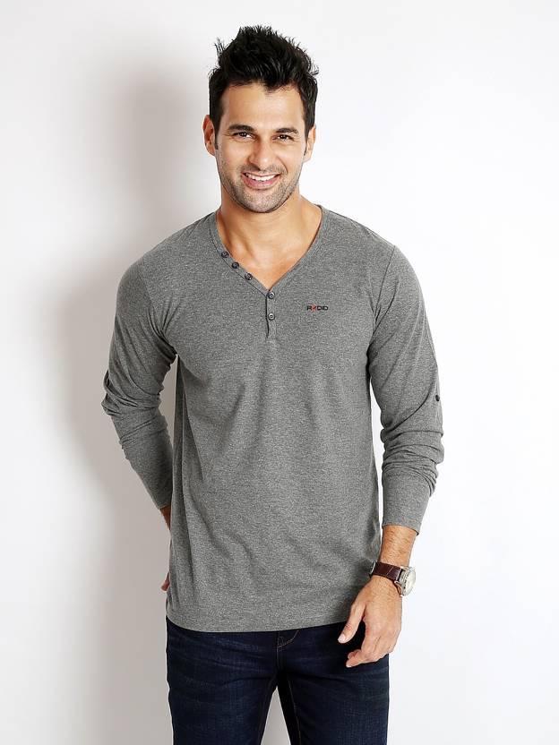 Rodid Solid Mens V-neck Grey T-Shirt