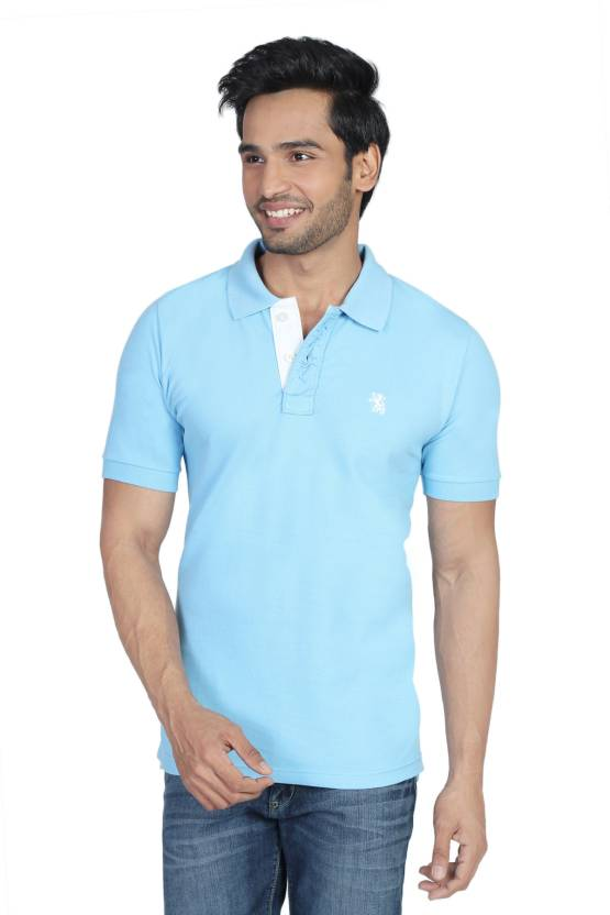 2a694ed4 The Cotton Company Solid Men's Polo Neck Light Blue T-Shirt - Buy Sky Blue  The Cotton Company Solid Men's Polo Neck Light Blue T-Shirt Online at Best  Prices ...