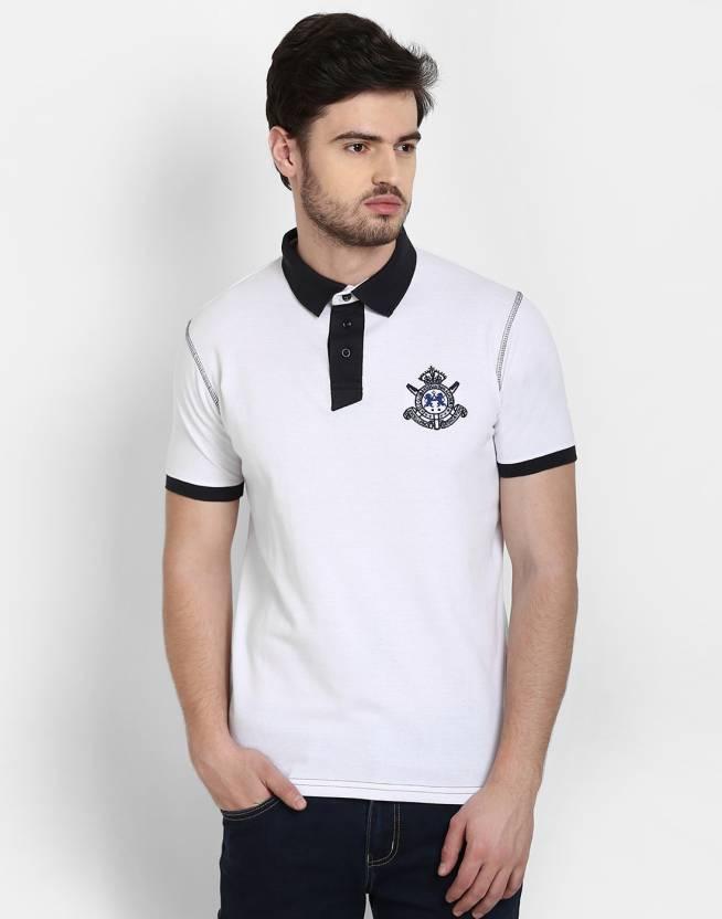 455e278214 Cotton County Premium Solid Men's Polo Neck White T-Shirt - Buy Cool ...