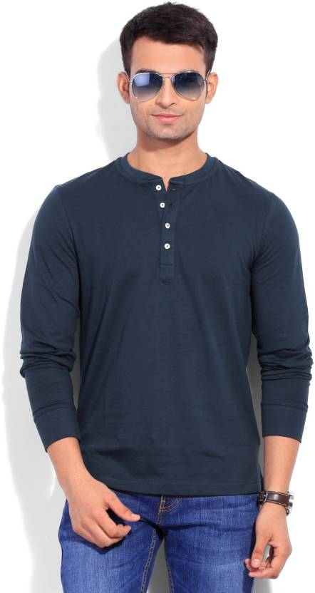 e6ef9a8971f8 Freecultr Solid Men's Henley Blue T-Shirt - Buy Dark Navy Freecultr Solid Men's  Henley Blue T-Shirt Online at Best Prices in India | Flipkart.com