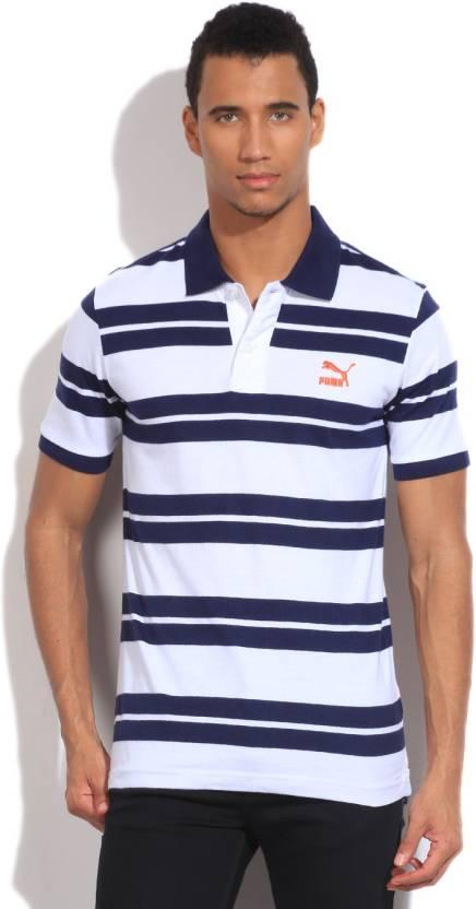 26813111eb5 Puma Striped Men's Polo Neck White, Blue T-Shirt - Buy White, Peacoat,  Peacoat Puma Striped Men's Polo Neck White, Blue T-Shirt Online at Best  Prices in ...