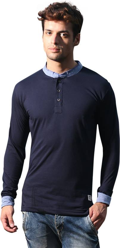 Alan Jones Solid Men's Henley Dark Blue T-Shirt