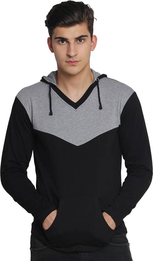 Casual Wear Under Rs.599 By Flipkart | Bigidea Solid Men's Hooded Black, Grey T-Shirt @ Rs.Casual Wear Under Rs.599 By Flipkart | Bigidea Solid Men's Hooded Black, Grey T-Shirt @ Rs.359