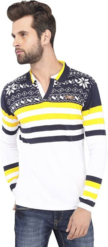 1dbc9aedf6 Stride Solid, Printed Men's V-neck Blue, Yellow T-Shirt - Buy Navy ...