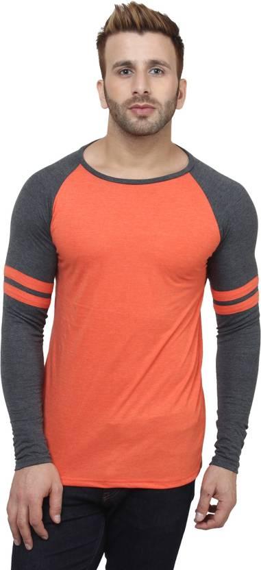 0595e2c2f12 SayItLoud Color block Men Round Neck Orange