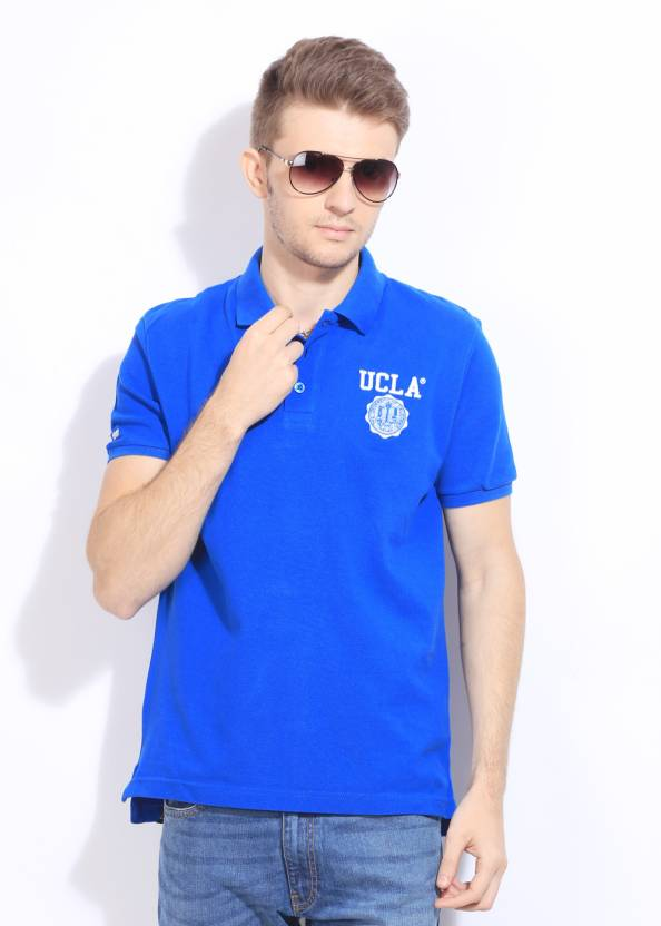 5e55ad308 UCLA Solid Men's Polo Neck Blue T-Shirt - Buy NEWBLUE UCLA Solid Men's Polo  Neck Blue T-Shirt Online at Best Prices in India   Flipkart.com
