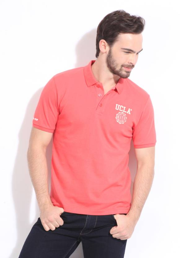 391d6402b UCLA Solid Men's Polo Neck Pink T-Shirt - Buy NEWPINK UCLA Solid Men's Polo  Neck Pink T-Shirt Online at Best Prices in India   Flipkart.com