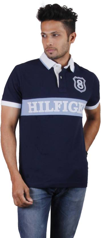 647e86007 Tommy Hilfiger Solid Men's Polo Neck Blue T-Shirt - Buy Navy Blue ...