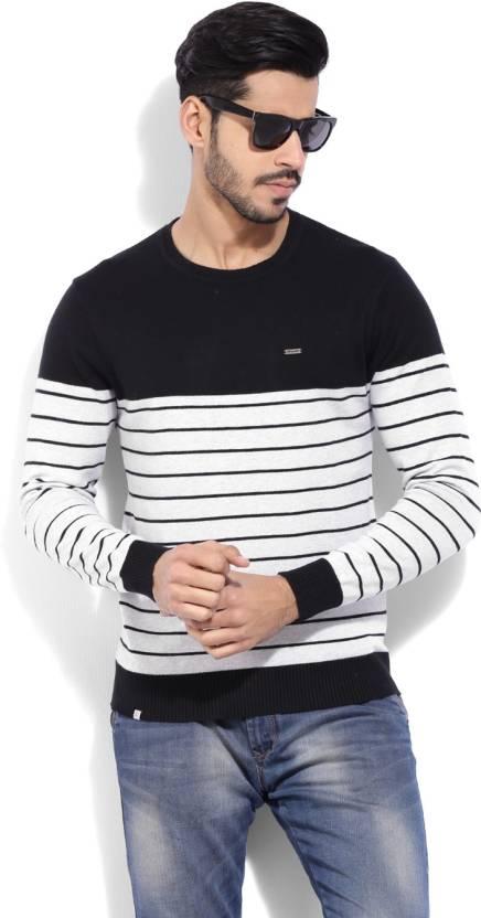 Numero Uno Striped Crew Neck Casual Men White Sweater - Buy BLACK ... 4cd97bbc7