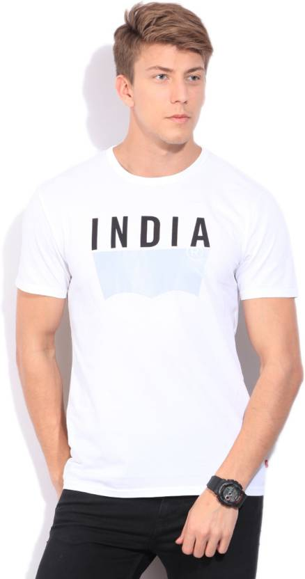 6ee463cd Levi's Printed Men's Round Neck Black T-Shirt - Buy White Levi's Printed  Men's Round Neck Black T-Shirt Online at Best Prices in India | Flipkart.com