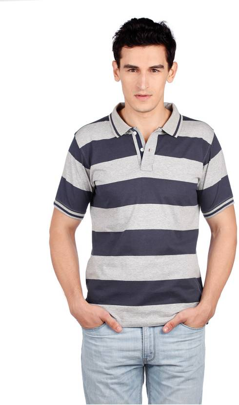 d4ad1751 Indigo Nation Street Striped Men's Polo Neck Blue, Grey T-Shirt - Buy 21,  Grey Indigo Nation Street Striped Men's Polo Neck Blue, Grey T-Shirt Online  at ...