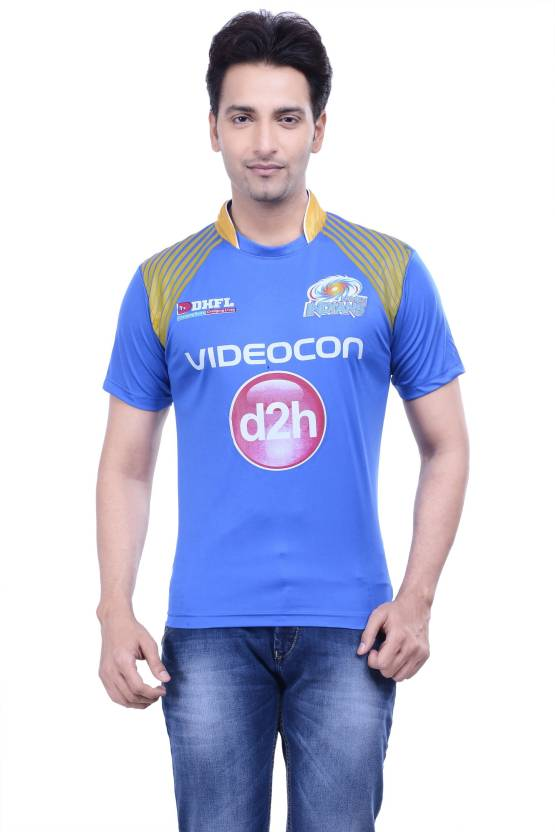DINAAR Printed Men's Round Neck Blue, Gold T-Shirt
