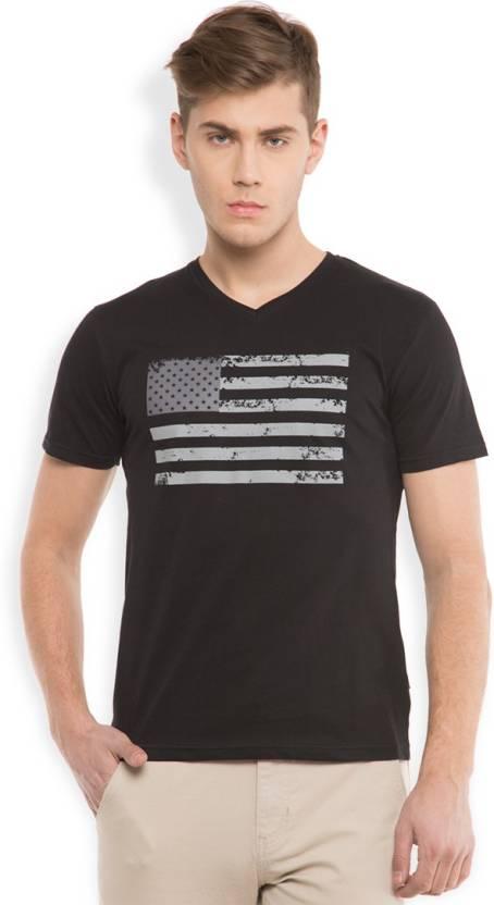 54cc523ac7c2c Highlander Solid Men s V-neck Black T-Shirt - Buy BLACK Highlander Solid  Men s V-neck Black T-Shirt Online at Best Prices in India