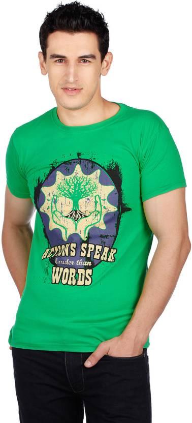 Cherokee Printed Men's Round Neck Green T-Shirt