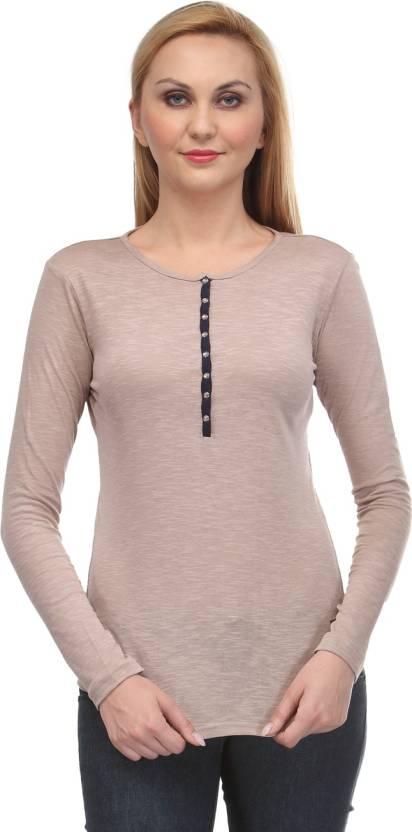 6af1d70f15aebd Rockland Life Solid Women's Round Neck Beige T-Shirt - Buy Beige ...