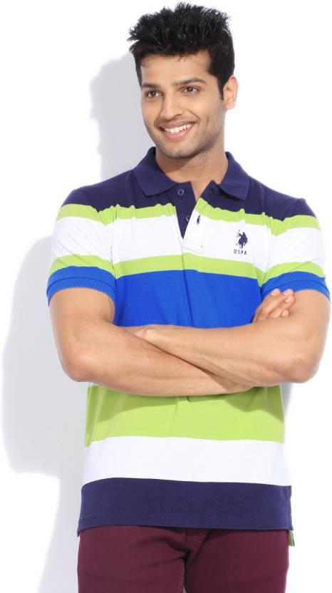U S Polo Assn Striped Men S Polo Neck White Green T Shirt Buy