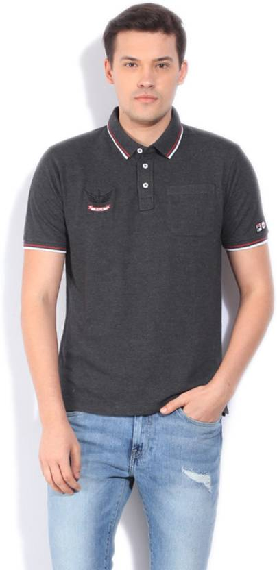 Fila Solid Men's Polo Neck Grey T-Shirt