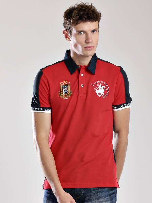 458bdde9 Santa Monica Solid Men's Polo Neck Red T-Shirt - Buy Red Santa Monica Solid Men's  Polo Neck Red T-Shirt Online at Best Prices in India | Flipkart.com