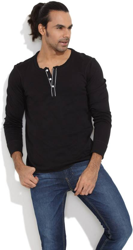 a9813a9f2175 Freecultr Solid Men's Henley Black T-Shirt - Buy Black Freecultr Solid Men's  Henley Black T-Shirt Online at Best Prices in India | Flipkart.com