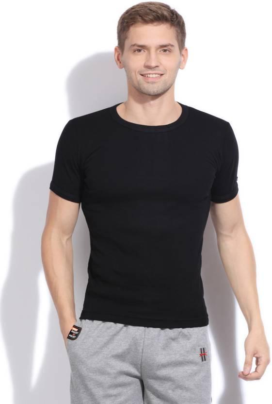 8bace26952dbc6 Macroman Solid Men's Round Neck Black T-Shirt - Buy BLACK Macroman Solid  Men's Round Neck Black T-Shirt Online at Best Prices in India | Flipkart.com